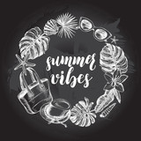Background with sea shells, tropical plants, beach accessories. Vacation Ink hand drawn elements with brush calligraphy style lettering. Template for cards, posters design. Vector illustration. - 167347309