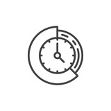 Clock and pie chart line icon, outline vector sign, linear style pictogram isolated on white. Time management symbol, logo illustration. Editable stroke. Pixel perfect vector graphics