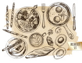 Breakfast set. Muesli with berries, coffee, Fried eggs in a frying pan, baguette, strudel, asparagus wrapped in ham, avocado. Food elements collection. Vector ink hand drawn illustration. - 167349507