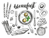 Breakfast set. Fried eggs in a frying pan, coffee, baguette, Maasdam cheese, asparagus, avocado. Food elements collection. Vector illustration. Menu, signboard template with modern style lettering. - 167349542