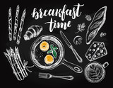 Breakfast set. Fried eggs in a frying pan, coffee, croissant, baguette, asparagus, Maasdam cheese. Food elements collection. Vector illustration. Menu, signboard template with modern style lettering. - 167349592