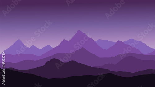 Poster Snoeien panoramic view of the mountain landscape with fog in the valley below with the alpenglow purple sky and rising sun - vector