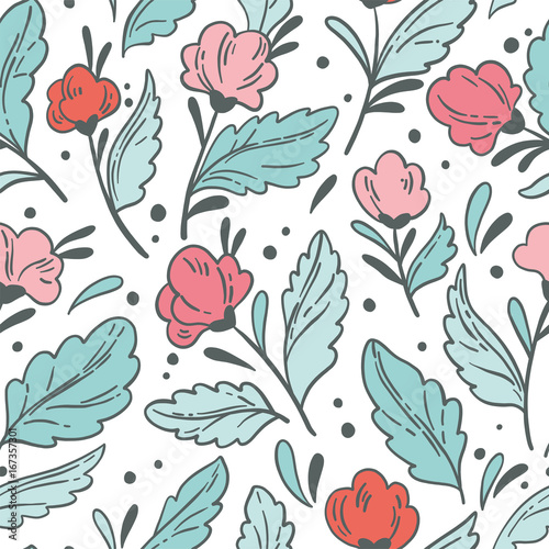 Vector seamless pattern with flowers. Floral background - 167357301