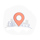 Geo map Pin, Delivery service or GPS location vector concept. Geo Point marker surrounded by urban buildings. Business or transportation illustration, clean flat line cartoon UX UI design element. - 167359777