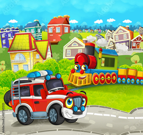 Cartoon train scene in the city and off road fireman truck- illustration for children - 167365305