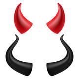 Devils Horns Vector. Realistic Red And Black Devil Horns Set. Isolated On White Illustration. - 167365568