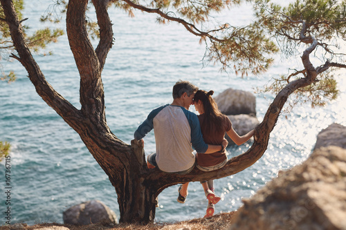 Plakat romantic young couple in love together