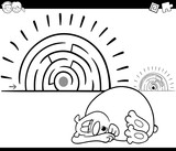 maze activity game with sleeping bear