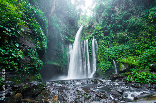 Air Terjun Tiu Kelep waterfall near Rinjani, Senaru, Lombok, Indonesia, Southeast Asia. - 167374721