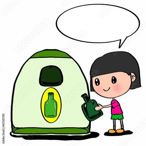 bottle trash and cute girl and speaking balloon