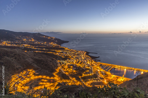 Poster Canarische Eilanden Santa Cruz de La Palma at sunrise. Canary islands