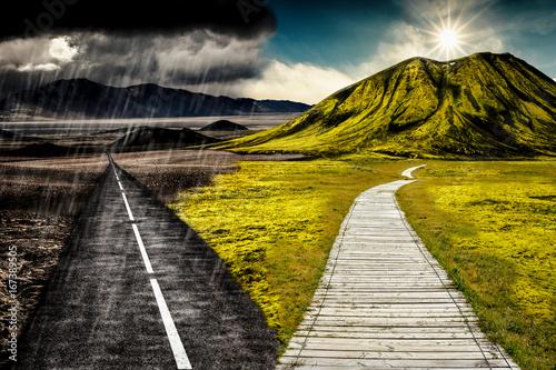 canvas print picture Sonne und Regen