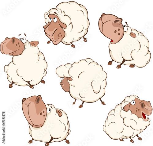 Foto op Aluminium Babykamer Set of Cartoon Illustration.A Different Sheep for you Design. Cartoon Character