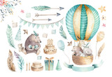 Cute baby nursery on balloon isolated illustration for children. Bohemian watercolor bohemian bear, cat hipo and deer drawing, watercolour image.  - 167393979