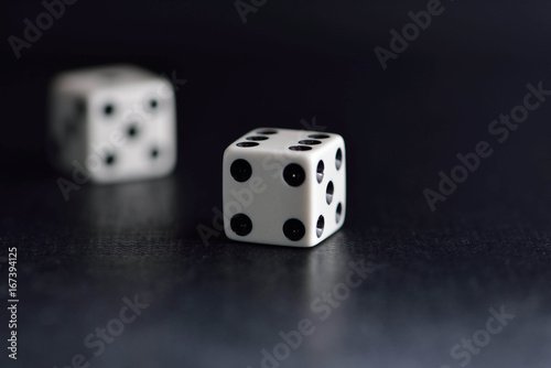 Poster Two dice ob black
