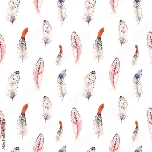 Watercolor natural birds feather boho pattern. Bohemian Seamless texture with hand drawn feathers. Feather boho illustration for your design. Bright blue colors decoration. - 167401336