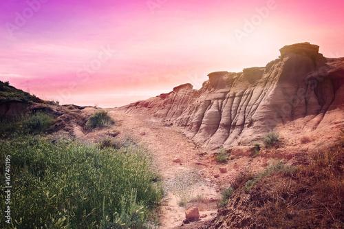 Deurstickers Lichtroze landscape