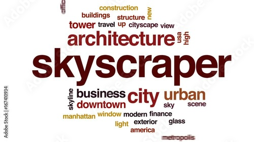 Skyscraper animated word cloud, text design animation.