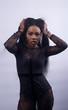 African lady in black sexy underwear