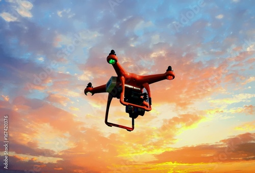 Mapping Drone at Sunset Poster
