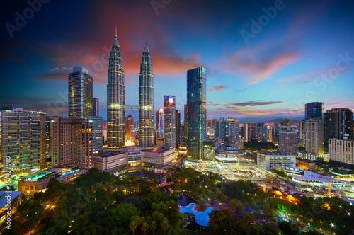 Beautiful Kuala Lumpur city skyline with dramatic sky , twilight scene . Malaysia .