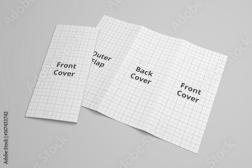 us letter tri fold brochure 3d illustration mockup with grid no 6