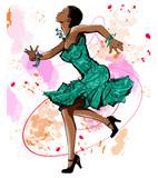 Beautiful black woman dancing - 167435976