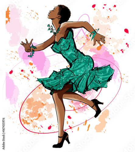 Deurstickers Art Studio Beautiful black woman dancing