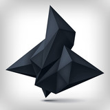 Volume origami geometric shape, 3d levitation black crystal, creative low polygons dark object, vector design form
