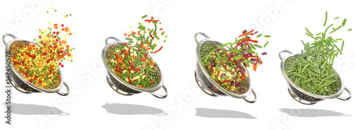 Keuken foto achterwand Verse groenten Variety of frozen vegetables in colanders - white background