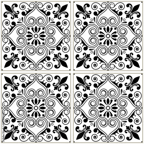 Portuguese tiles pattern - Azulejo black and white design, seamless vector blue background, vintage mosaics set