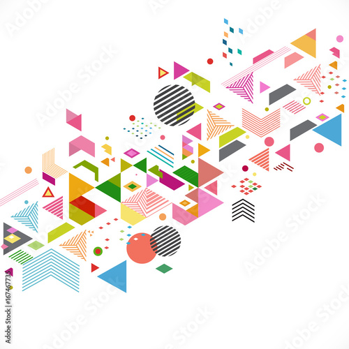 Poster Geometrische dieren Abstract colorful and creative geometric with a variety of graphic and pattern for corporate business or technology identity design, online presentation website element, vector illustration