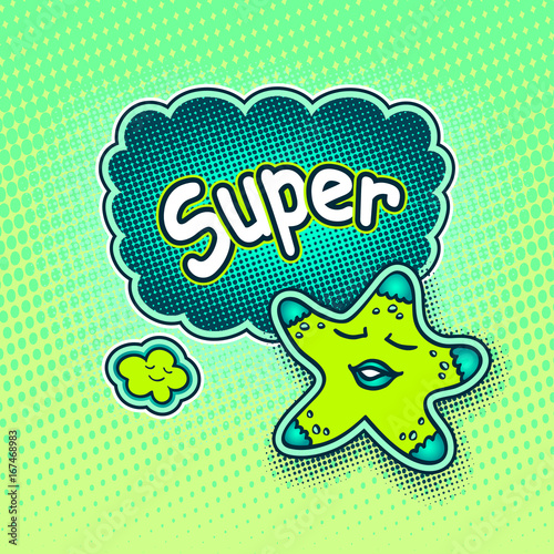 Doodle star in pop art cartoon comic retro style pointing on Speech bubble with halftone and inscription Super for Rating quality product in light green blue colors