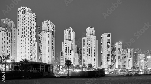 Staande foto Dubai Black and white picture of Dubai at night, UAE.