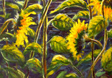 Sunflowers Acrylic, Oil painting Original handpainted art of sunflower flowers, beautiful gold sunflowers in sun flowers on canvas. Modern Impressionism.Impasto artwork.