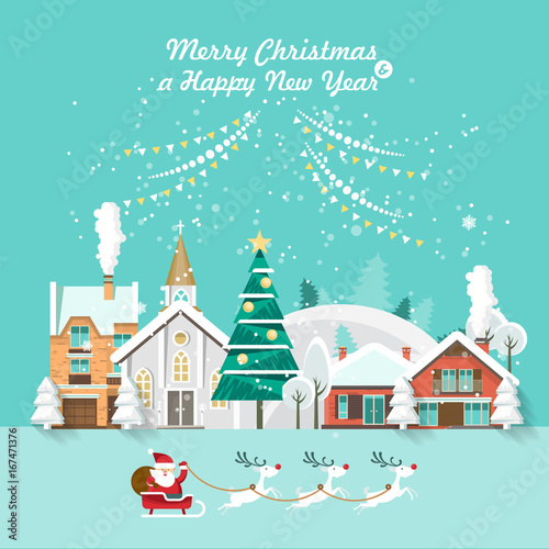 Merry Christmas and a Happy New Year vector greeting card in modern flat design. Christmas town.