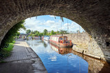 A boat on Brecon canal basin Powys Wales UK - 167471750
