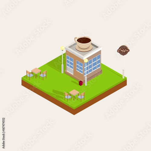 Sticker Isometric Coffee Building, Chairs, Tables, Tree, Street Light, Dustbin, Road. White Background