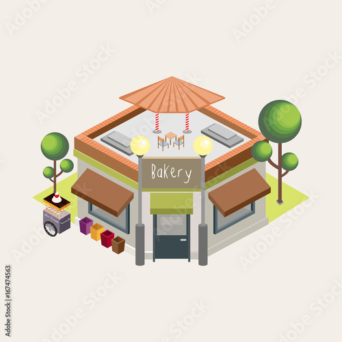 Isometric Bakery Building, Chairs, Tables, Tree, Street Light, Garden, Dustbin, Road. White Background