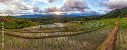 Landscape of Sunset Papongpieng Rice Terraces, Chiang Mai, North of Thailand.