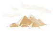 Great Pyramids of Egypt, Graphic linear tonal drawing by sepia, toned paper. Isolated on white background