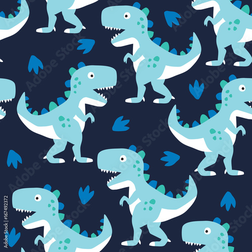 Cotton fabric seamless dinosaur pattern vector illustration