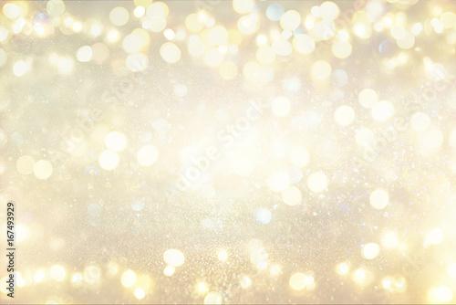 Leinwandbild Motiv glitter vintage lights background. silver and light gold. de-focused