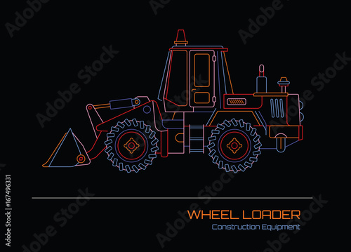 Wheel Loader neon outline