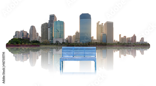 Sticker blue wood bench and high modern building city in central city at morning with water reflection isolated on white.