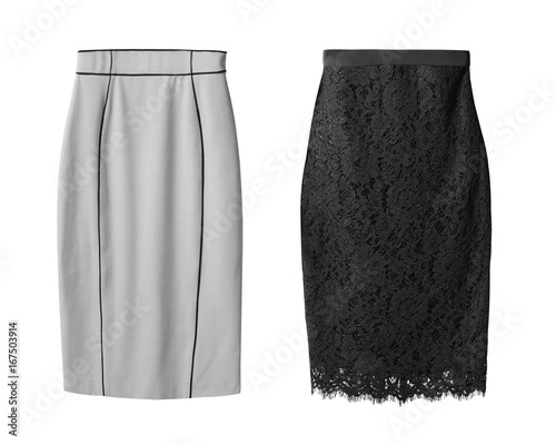 2 office pencil business skirt s with black lace and gray cotton isolated on white
