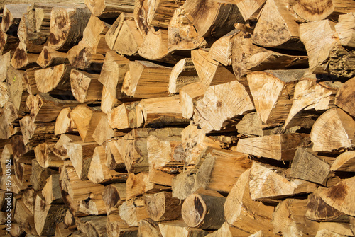 Natural rustic wooden background, dry chopped firewood logs for winter oven fare on the evening sunlight.