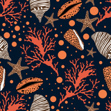 Seamless sea pattern with colorful shells,fishstars and corals.Colorful vector background.Textile texture