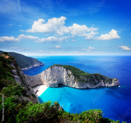 Aluminium Schipbreuk Navagio beach, famous summer vacations landscape of Zakinthos island, Greece, retro toned