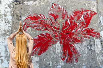 Red flower graffiti-Kas-Turkey